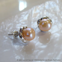 Cultured Freshwater Apricot Pearl Studs Sterling Silver