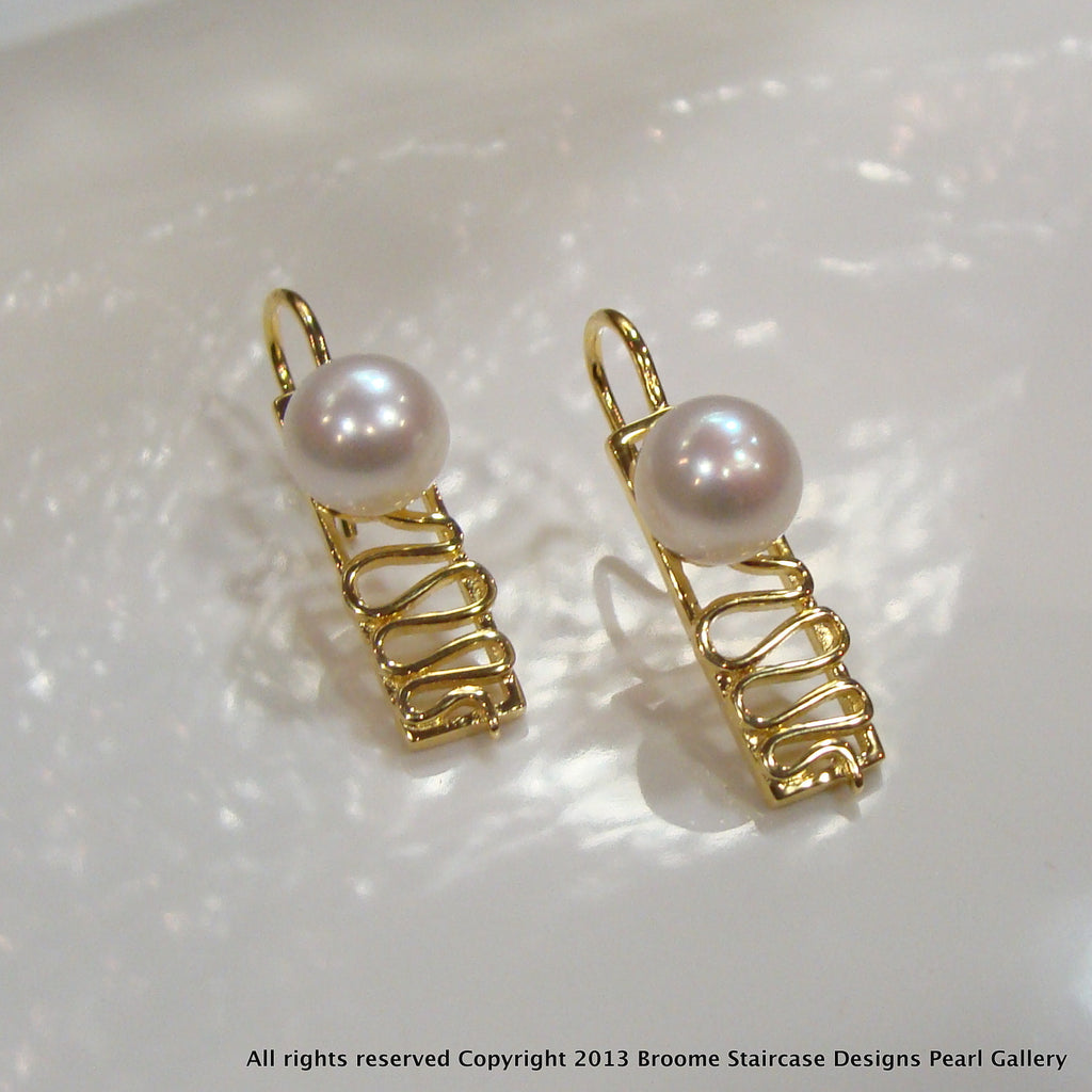 Staircase Pearl Earrings Cape Leveque (white/ep) - Broome Staircase Designs Pearl Gallery