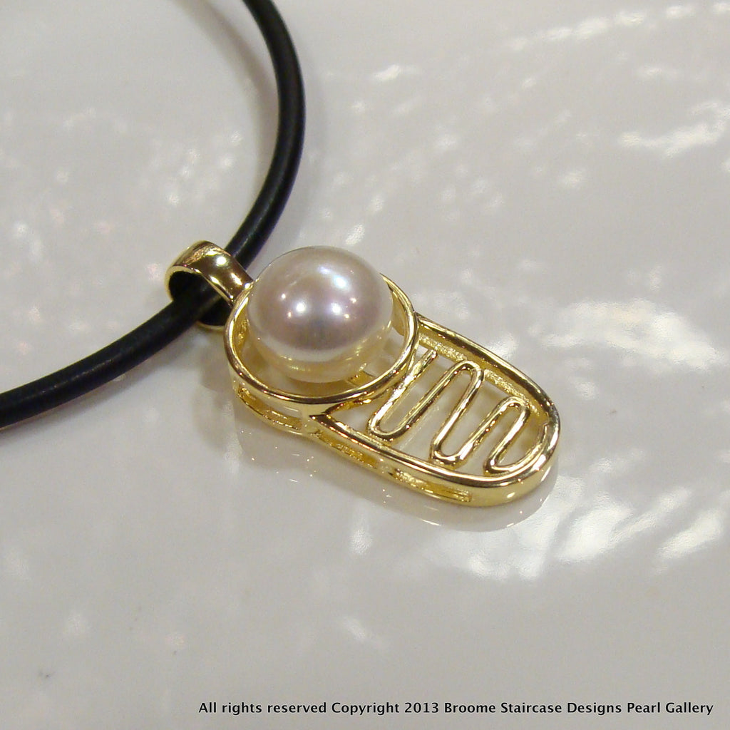 Pendant Coconut Well Staircase to the Moon - White (e/p**FREE NEOPRENE NECKLACE! - Broome Staircase Designs Pearl Gallery