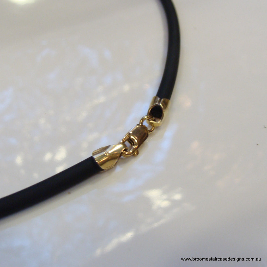Neoprene Black Necklace 14ct Gold Filled 2mm or 3mm thickness - Broome Staircase Designs Pearl Gallery - 1