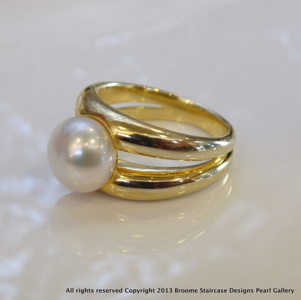Freshwater Pearl Double Band Ring - Broome Staircase Designs Pearl Gallery