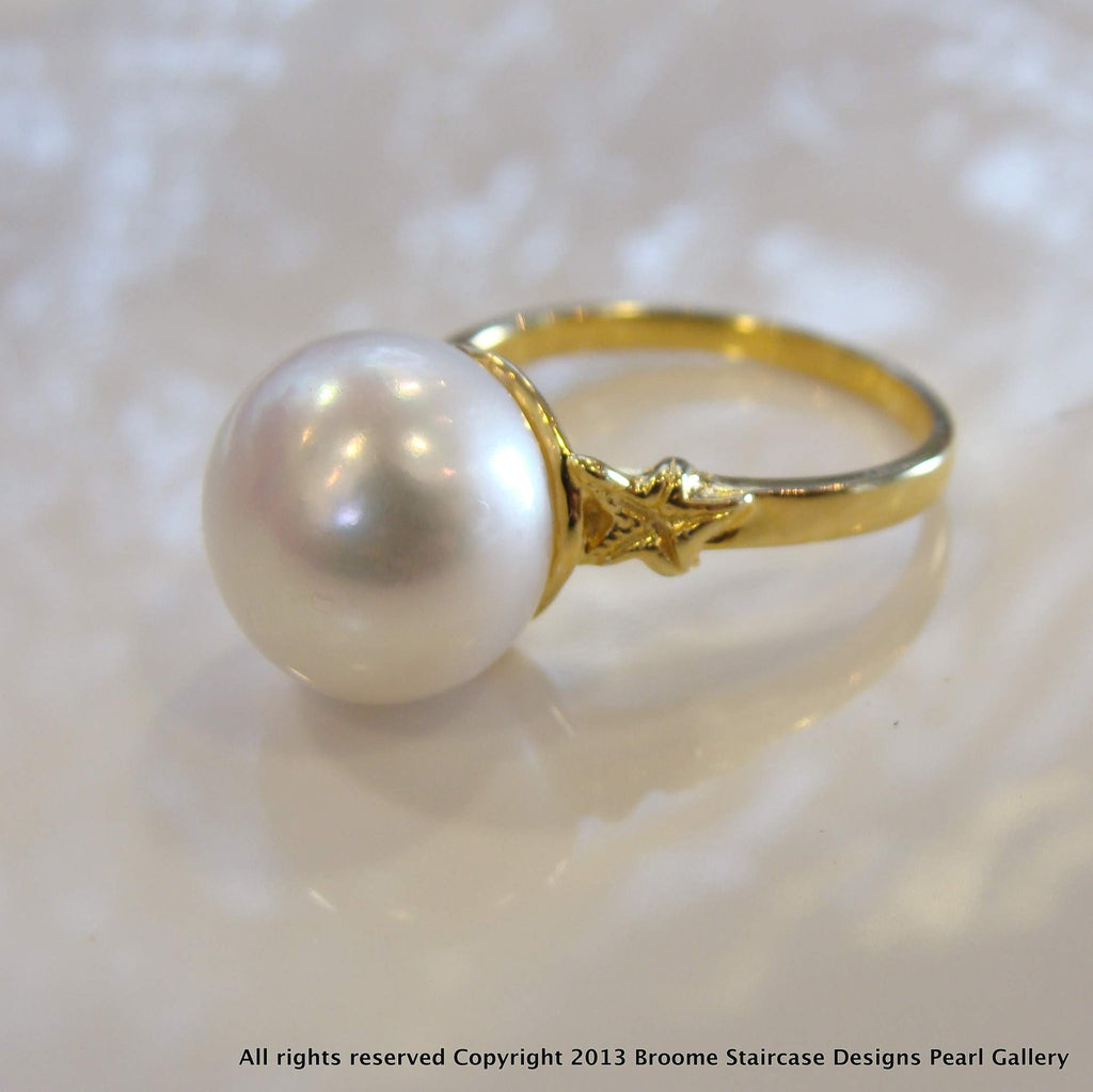 Cultured Freshwater Pearl Starfish Ring Gold