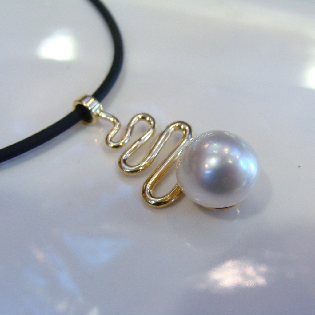 Broome Pearl Eco Beach Staircase Pendant 9ct Yellow Gold