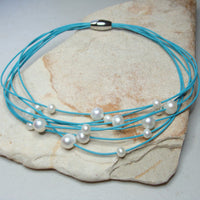 Cultured Pearl Multi Strand Turquoise Necklace