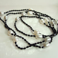 Cultured Freshwater Pearl and Black Onyx Necklace