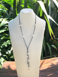 Lariat Cultured Pearl Leather Necklace
