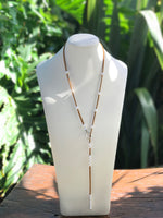 Cultured Pearl Suede Lariat Necklace