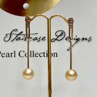 18ct South Sea Golden Pearl and Diamond Earrings