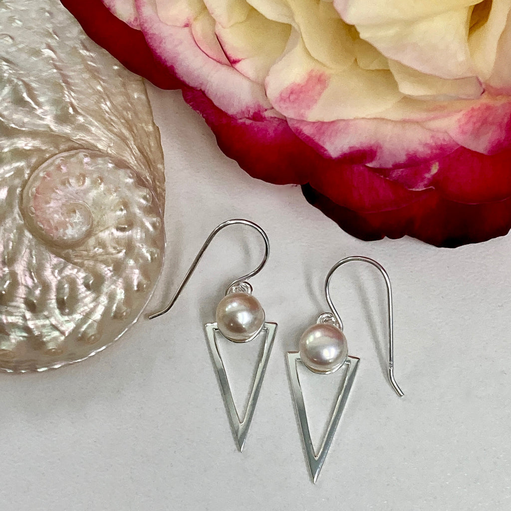 Cultured Freshwater Pearl Staircase Earrings