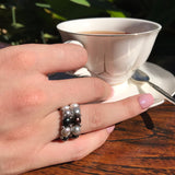 Cultured Pearl Stretchy Double Band Ring