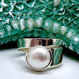 Adjustable Cultured Freshwater Pearl Ring 925 Sterling Silver