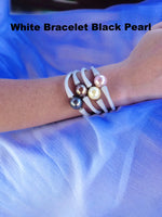 Easy Fit Shell Pearl Silicone Bracelet with 14mm Black Pearl