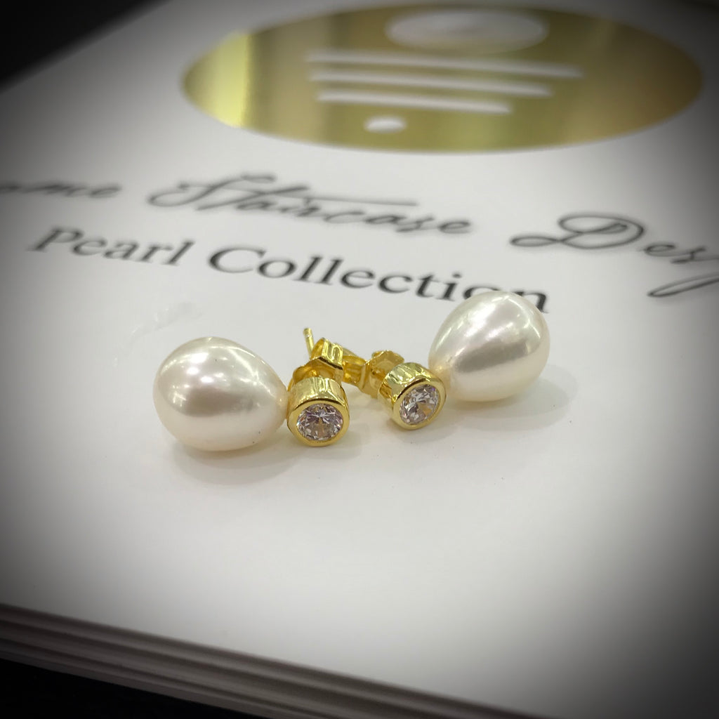 Cultured Freshwater Pearl & CZ Gold Stud Earrings