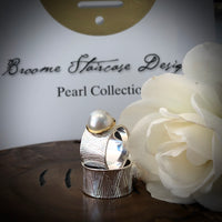 Cultured Freshwater Pearl Sterling Silver Ocean Ring