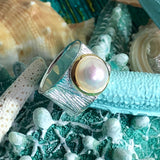 Cultured Freshwater Pearl Ring Sterling Silver Ocean Ring