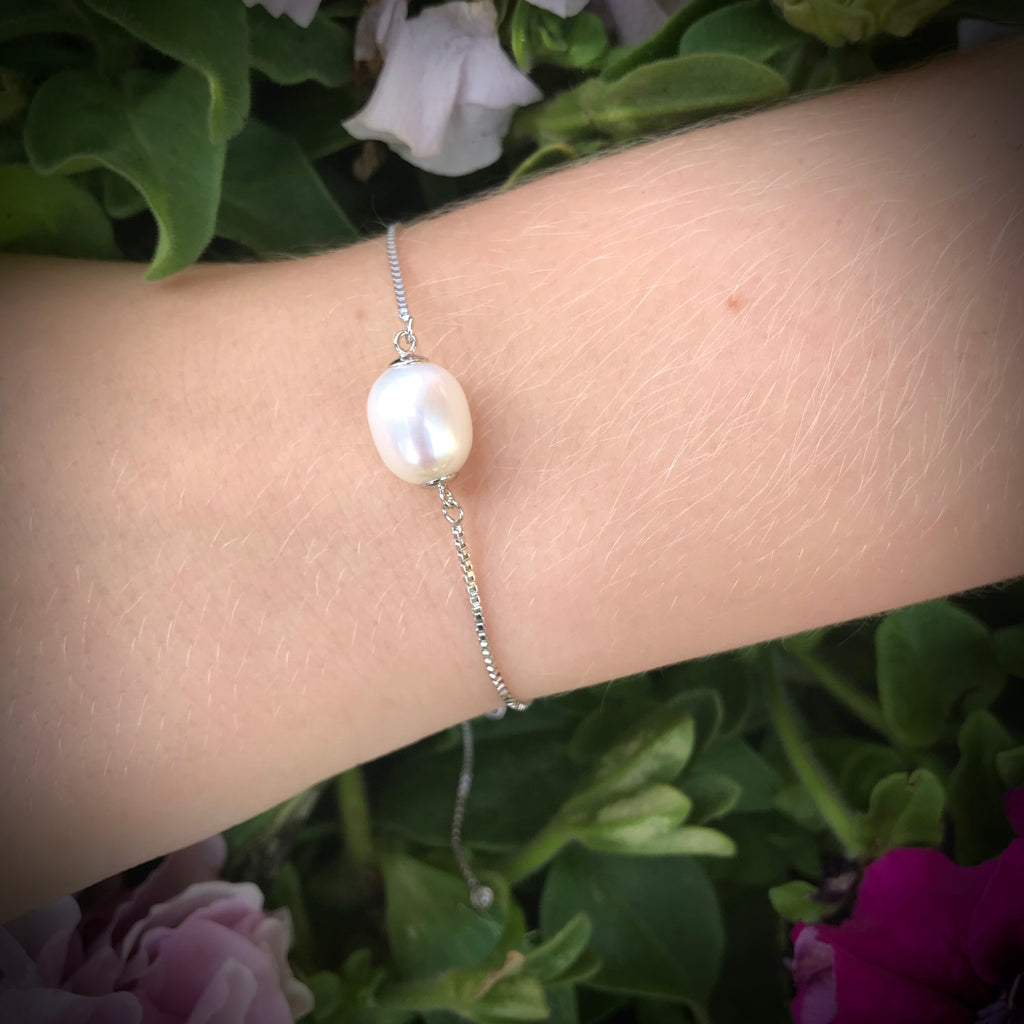 Adjustable Tennis Style Cultured Freshwater White Pearl Bracelet