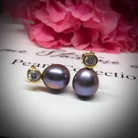 Cultured Freshwater Peacock Black Pearl & CZ Gold Stud Earrings