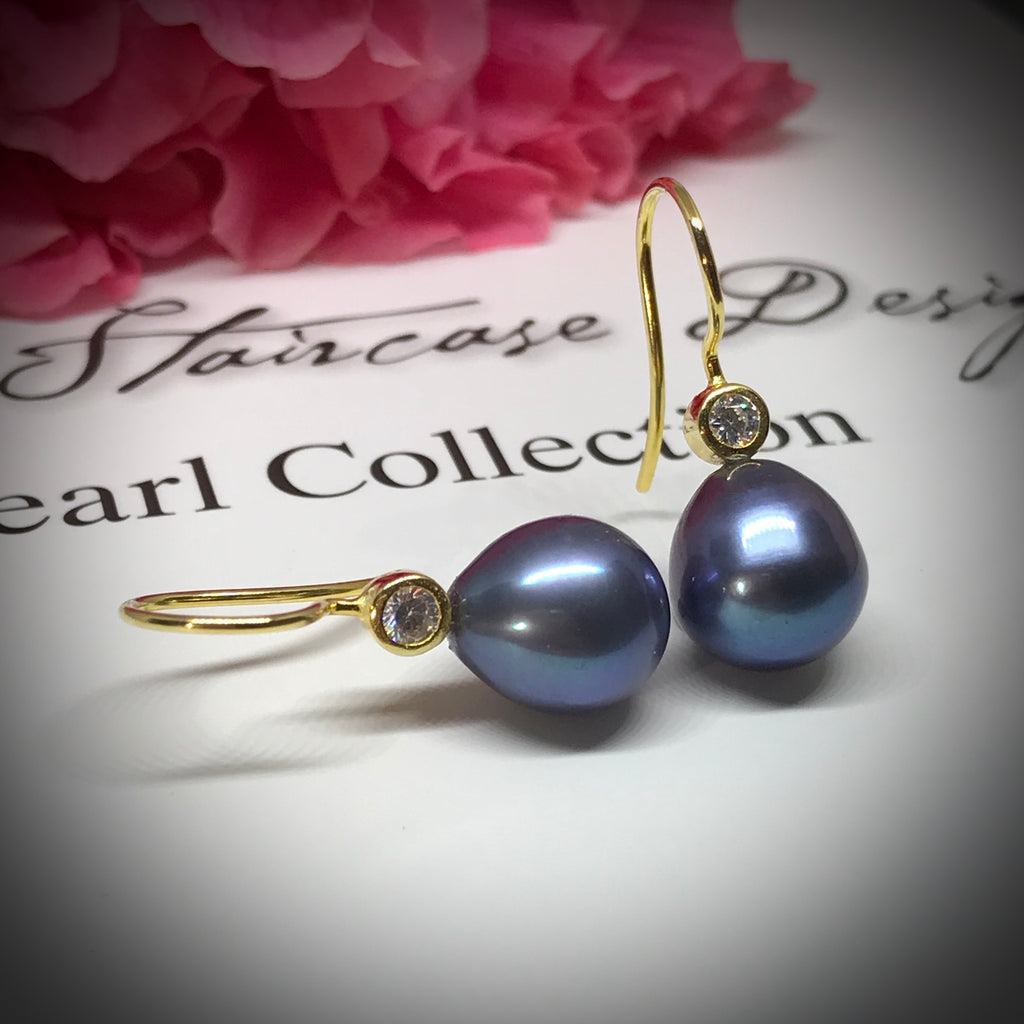 Cultured Freshwater Peacock Black Pearl & CZ Gold Hook Earrings