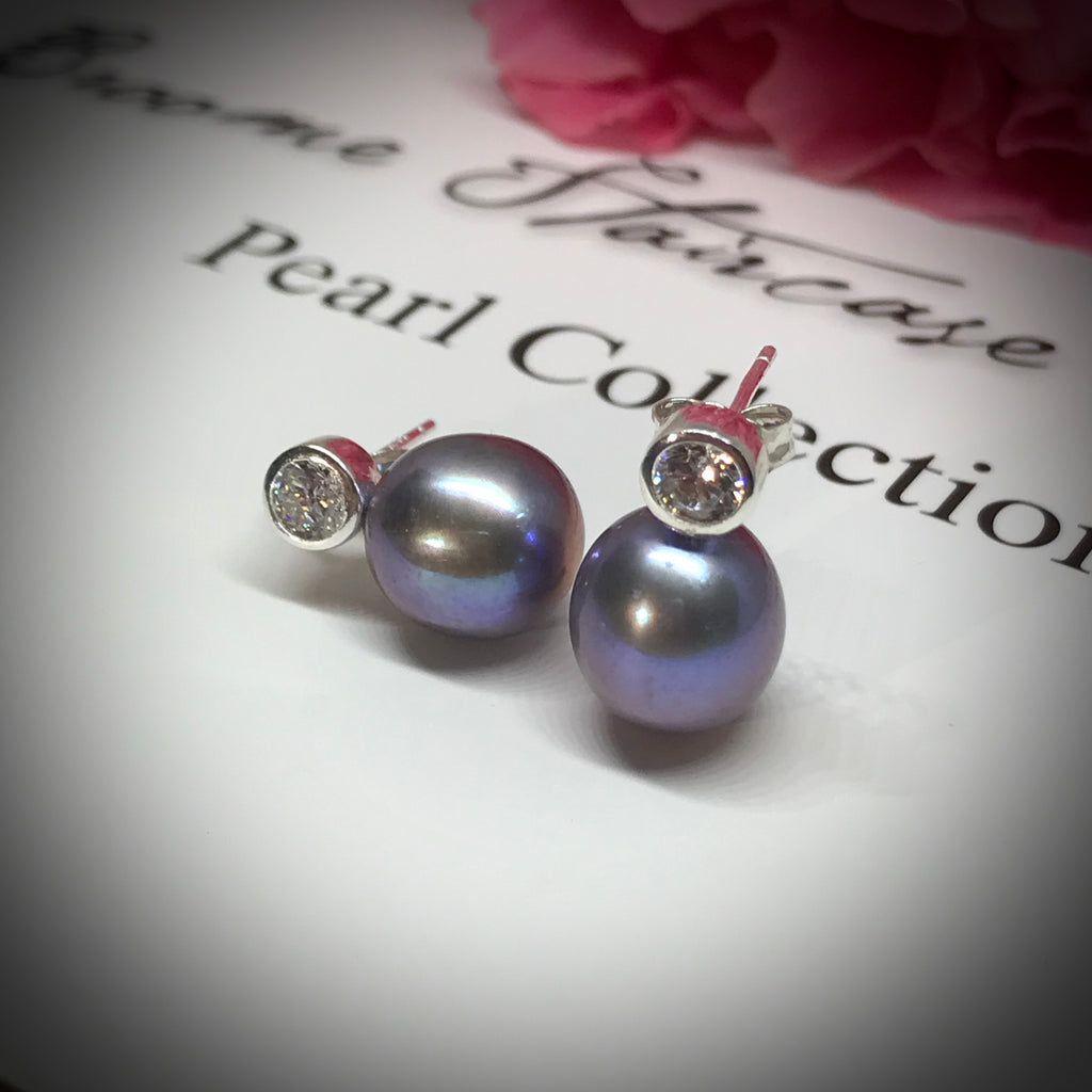 Cultured Freshwater Peacock Black Pearl & CZ Sterling Silver Stud Earrings