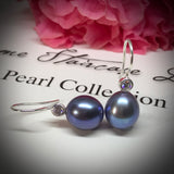 Cultured Freshwater Peacock Black Pearl & CZ Sterling Silver Hook Earrings