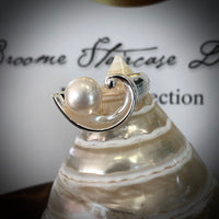 Cultured Broome Pearl Sterling Silver Wave Ring