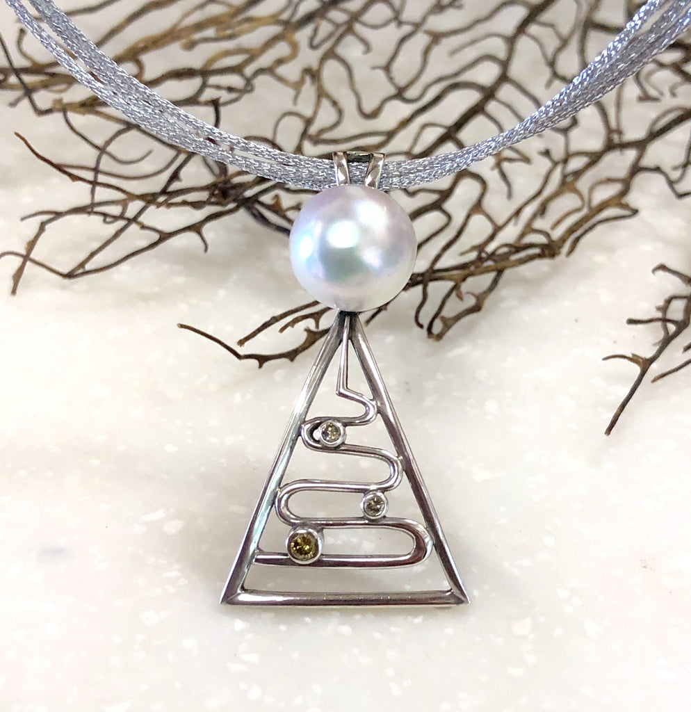 Broome Pearl and Diamond Entrance Point Staircase Pendant Sterling Silver