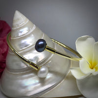 Double Cultured Freshwater Pearl Gold Bangle