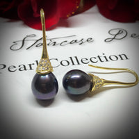 Cultured Freshwater Black Pearl & Cubic Zirconia Earrings Gold