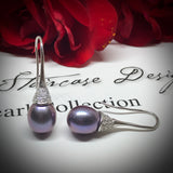 Cultured Freshwater Black Pearl & Cubic Zirconia Earrings