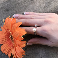 Cultured Freshwater Pearl and CZ Ring