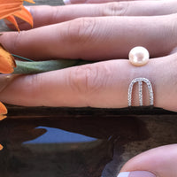 Cultured Freshwater Adjustable CZ Pearl Ring