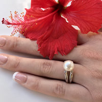Cultured Freshwater White Pearl Ring