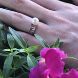 Cultured Freshwater Pearl  and CZ Ring Sterling Silver