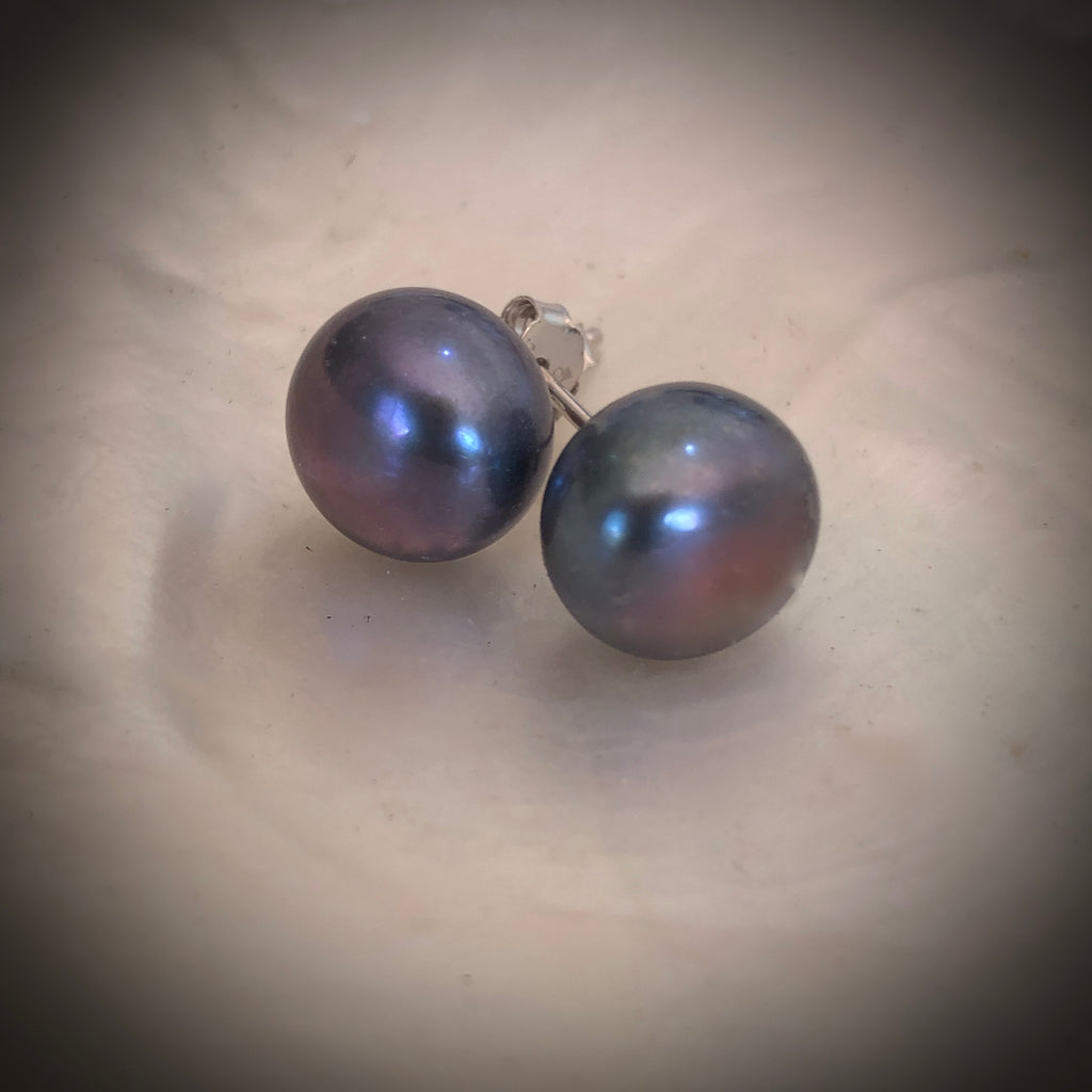 Cultured Freshwater Pearl Studs Black Sterling Silver