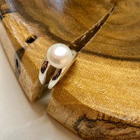 Cultured Freshwater Pearl Double Band Ring Sterling Silver