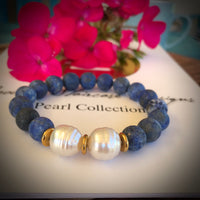 Broome South Sea Pearl and Blue Lapis Bracelet