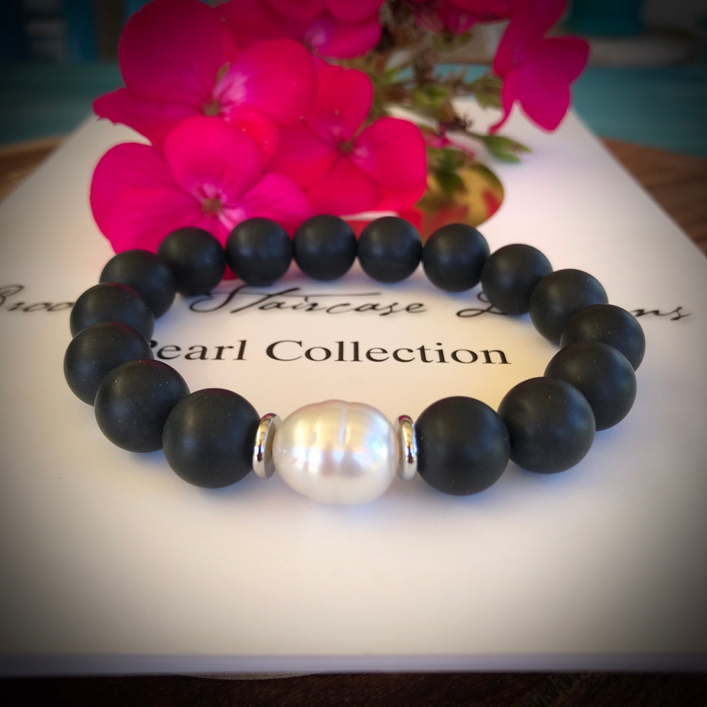Broome South Sea Pearl and Black Agate Bracelet
