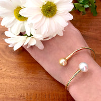 Double Broome Pearl Interchangeable Gold Bangle