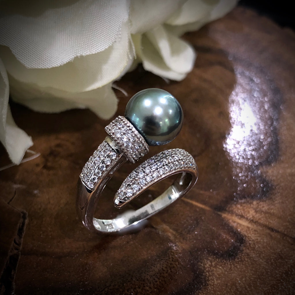 Tahitian Pearl Sterling Silver and CZ Ring