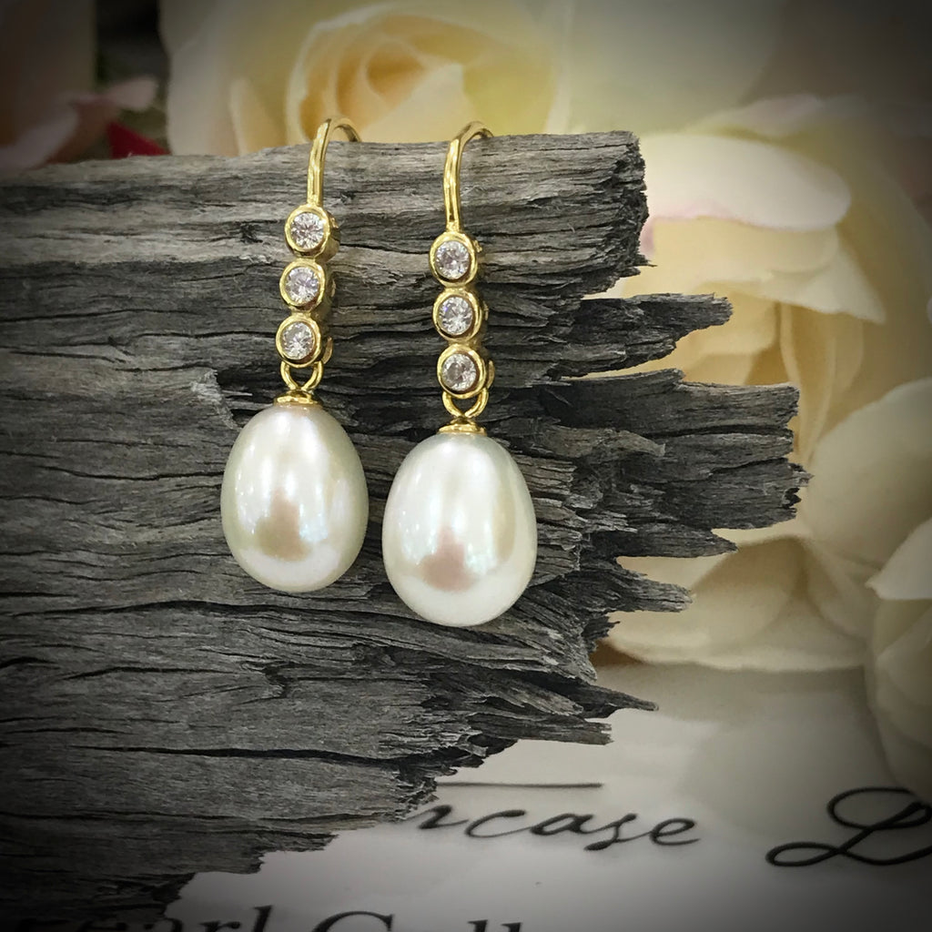 Cultured Freshwater White Pearl and CZ Hook Earrings