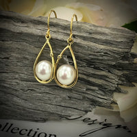 Cultured Freshwater CZ Drop White Pearl Earrings