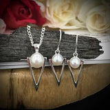 Cultured Freshwater Pearl Staircase Pendant & Hook Earring Set