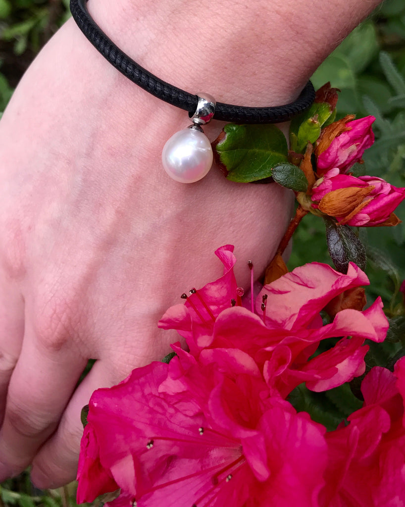 Cultured South Sea Pearl & Black Leather Bracelet