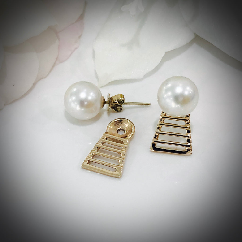 9ct Broome Pearl Studs with Staircase Add-on Earrings