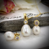 Cultured Freshwater Pearl and CZ Pendant & Earring Set