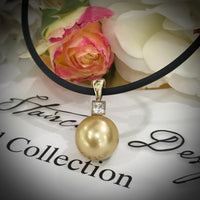 9ct Yellow Gold and CZ Golden South Sea Pearl Pendant