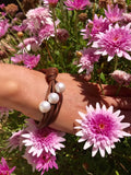 Cultured Large Pearl Tan Leather Bracelet