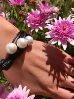 Cultured Large Pearl Black Leather Bracelet