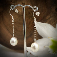 Cultured Freshwater White Pearl Long Chain Drop Hooks - Sterling Silver