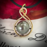 18ct Gold Tahitian Pearl and Diamond Pendant